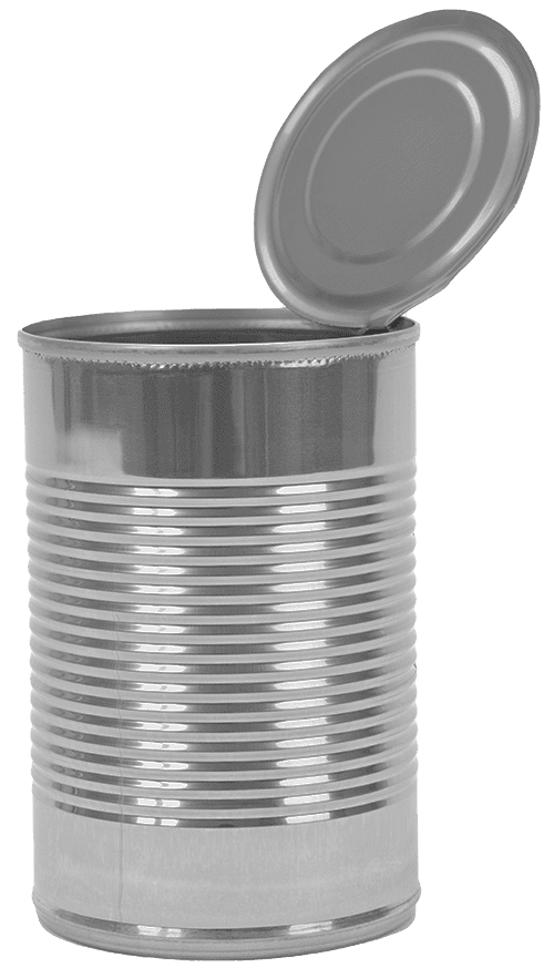 An tin can with the lid open